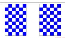 BLUE & WHITE CHECKERED BUNTING - 3 METRES 10 FLAGS